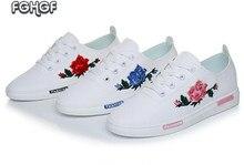 Bordado de la manera de Rose mujeres Blanco casual zapatos suaves Femeninos zapatos para caminar alpargatas mocasines zapatos estudiantes lindos Tufli Tenis