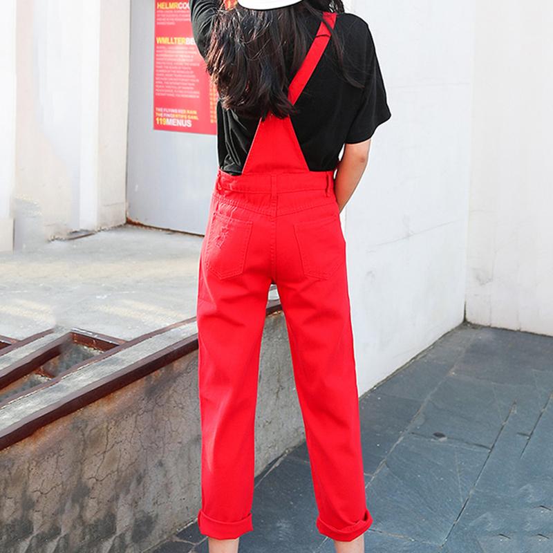 Denim Jumpsuit Women Solid Hole Jeans Jumpsuit Rompers Women Korean Fashion Suspender Monos Largos Mujer Pantalon Largo Overalls 9