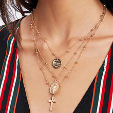 Retro2019 Exaggerated Personality Charm Necklace Alloy Virgin Cross Multilayer Pendant Womens Gift Jewelry