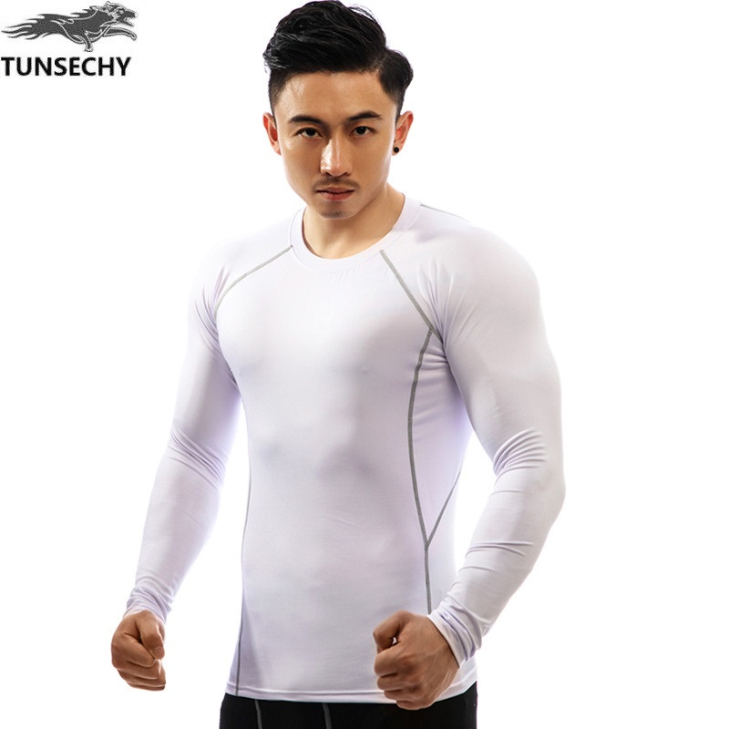 TUNSECHY Brand fashionable white compression tight long-sleeved T-shirt fashion round collar 3D digital printing T-shirt