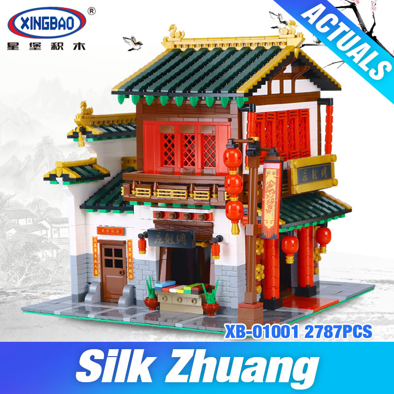 NEW XingBao 01001 Block 2787Pcs Creative Chinese Style The Chinese Silk and Satin Store Set Building Blocks Bricks DIY Toy Model наклейки new style 100mmx1520mm diy
