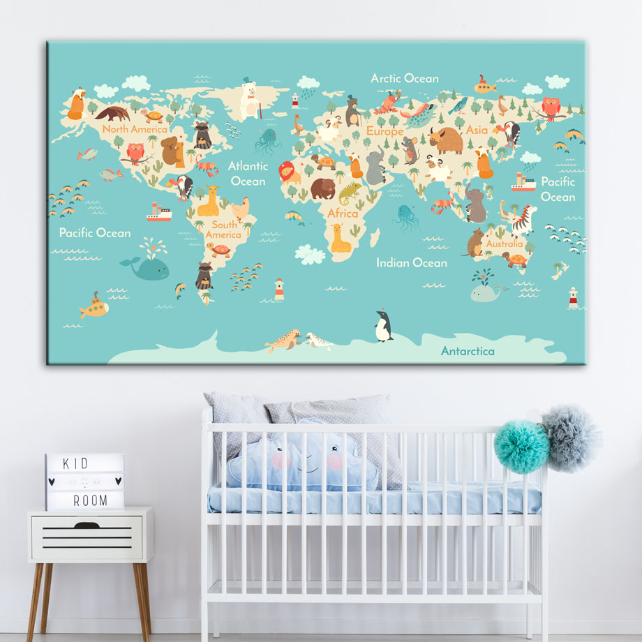 Us 3 04 38 Off Cartoon Ocean Animals World Map Wall Art Canvas Painting Nordic Posters And Prints Nursery Pictures For Kids Room Decor In