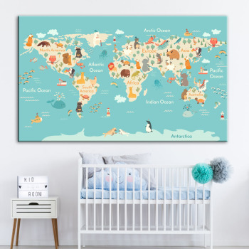 world map wall art kids room decor