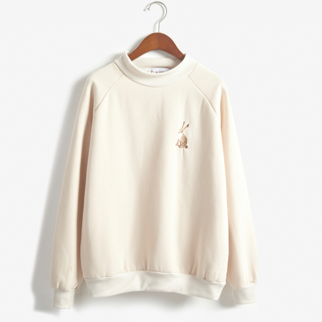 Women Harajuku Spring Rabbit Embroidery Small Turtleneck Pullover ...