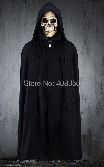 9d696ca90e Men s Top Fashion Black Long Hooded Cloak Coat Stylish Gothic Trench  Overcoat Hot-selling Winter ...