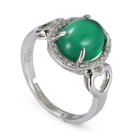 Engagement Wedding 925 Sterling Silver Rings Green Cubic Zirconia SS K43 Romantic Style Women Jewelry Gift