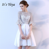 It's YiiYa Short Sleeve Cocktail Dresses 2018 Fashion Designer Flower Pattern High Quality Knee Length Party Dress LX711