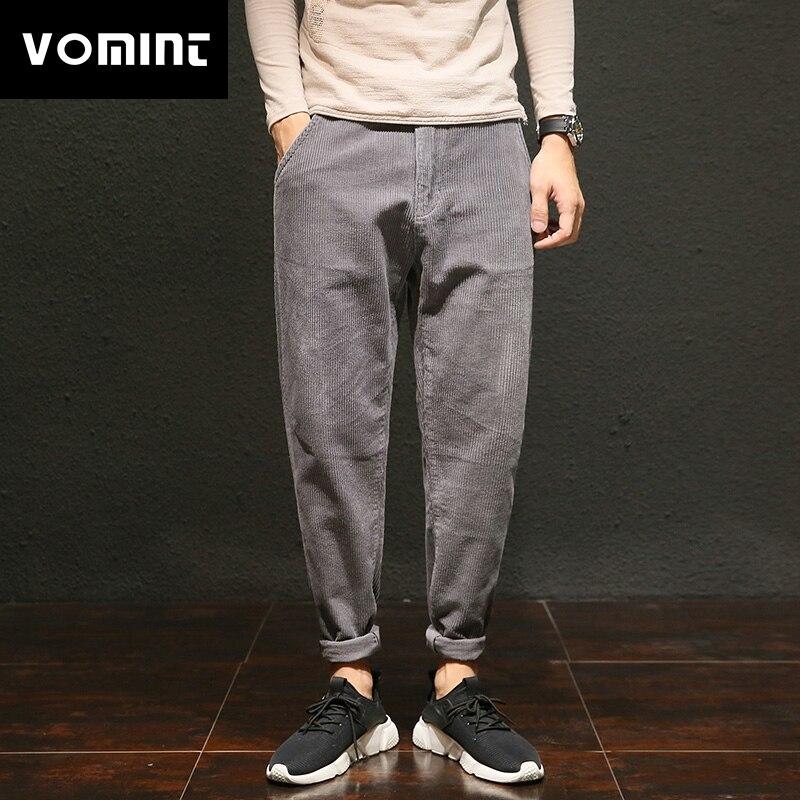 Vomint Mens Pants Splice-Wash Corduroy Cotton New Casual for Male HLK5502 Halen Distressed