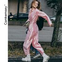 CamKemsey Autumn Winter Pink Jumpsuits Women 2019 Fashion Metallic Pockets Zippers Street Overalls Womens Romper