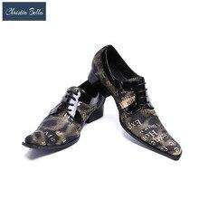 Christia Bella Homens Oxfords Sapatos De Luxo Vestido De Casamento Italiano Homens Sapatos de Couro Genuíno Do Dedo Do Pé Quadrado Sapatos Formais Mocassin Homme