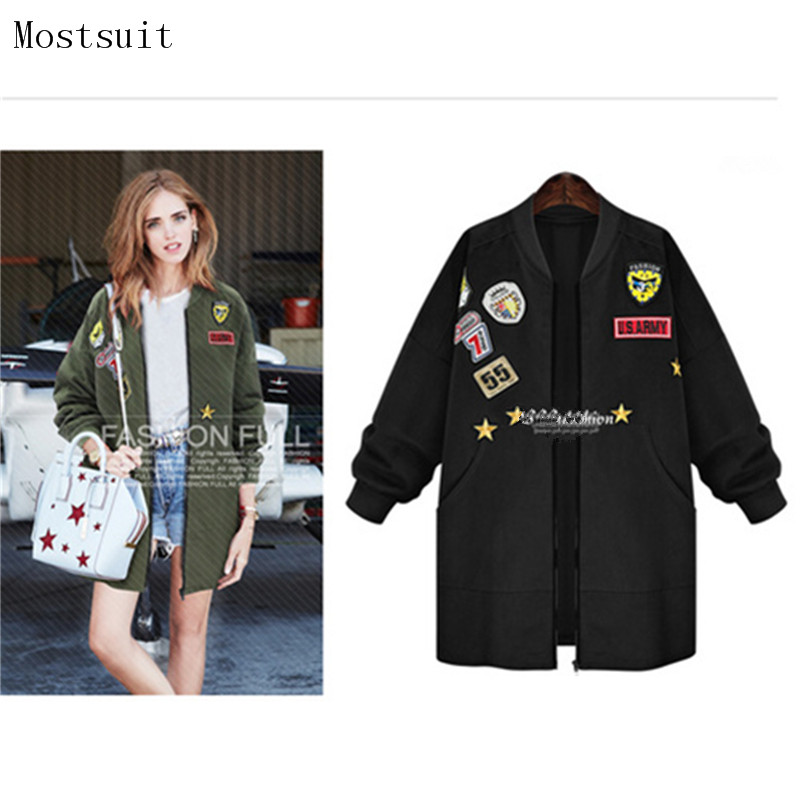 2018 New Autumn Women Long   Trench   Coats Plus Size Applique Badge Emboridery Windbreaker Street Fashion Baseball Casual Outwear