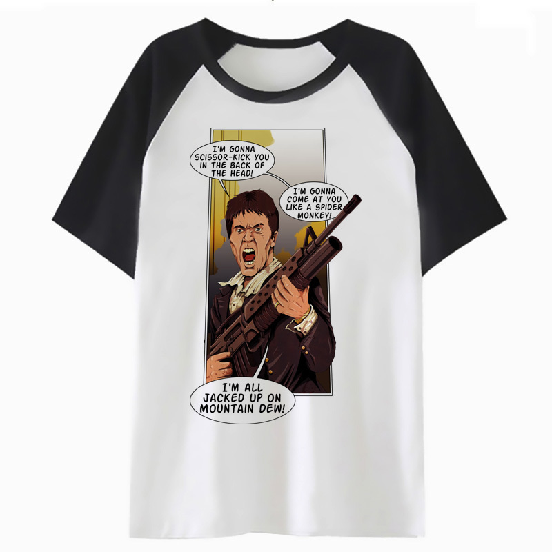 Scarface t shirt t-shirt clothing top tee for funny male men tshirt streetwear hip hop harajuku F2870