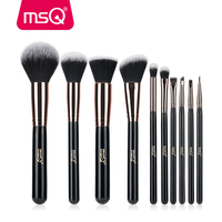 MSQ 10PCS Rose Gold Makeup Brushes For Foundation Blending Blush Eyeliner Powder Cosmetics Soft Synthetic Hair