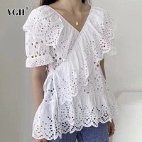 VGH Hollow Out Solid Lace Up Shirt For Women Short Sleeve V Neck 2019 Summer Loose Clothing Top Female Fashion New Korean