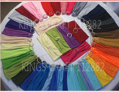 Free Shipping- 50pcs / pack, Banquet Chair Band, Wedding Chair Sashes , Spandex Lycra Band With Buckle Wholesale