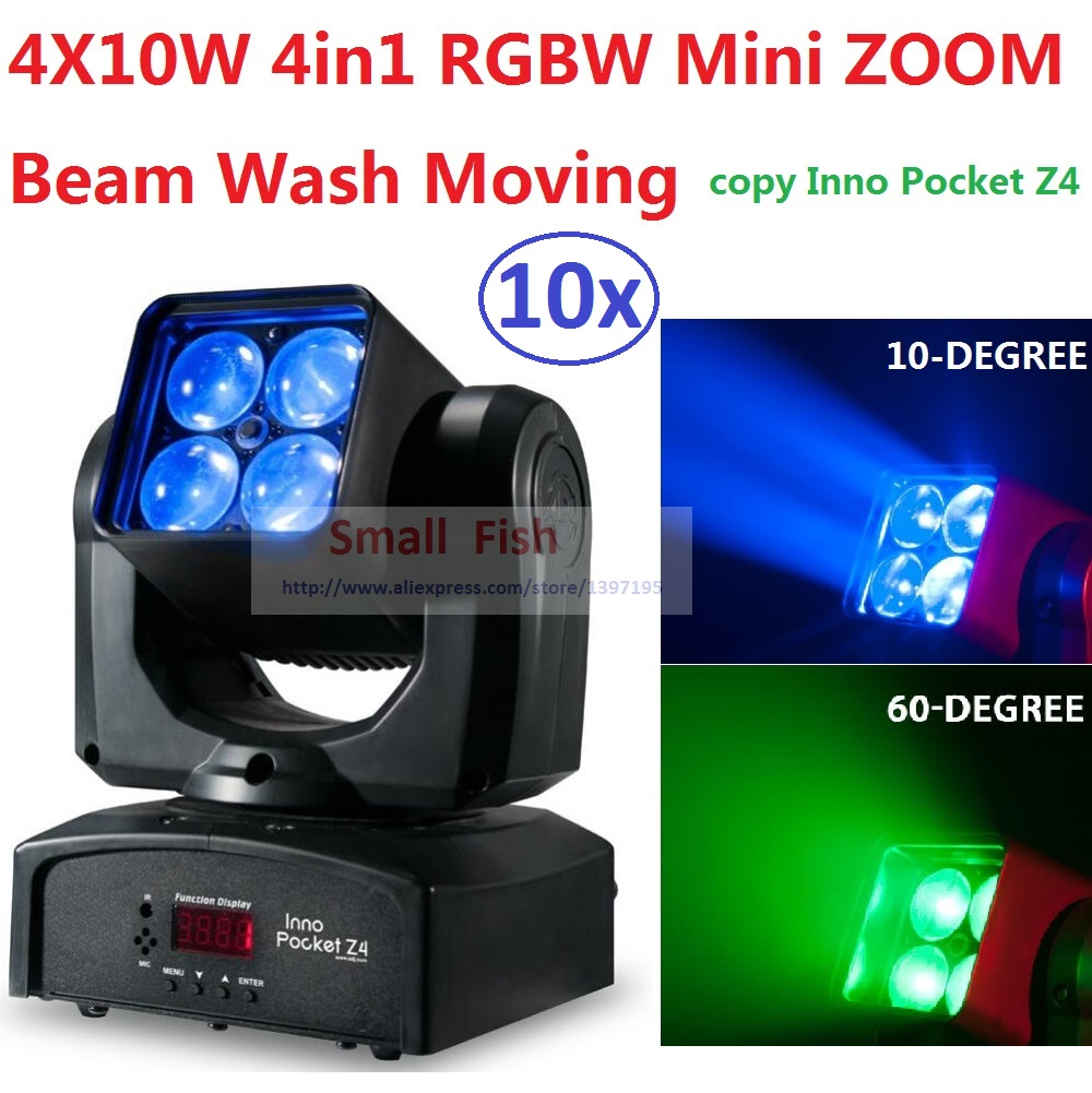 Sales 10xLot ZOOM Mini ADJ Inno Pocket Led RGBW Moving Head Light Disco Party Night Club Bar KTV 4x10W Beam Wash Stage Lighting