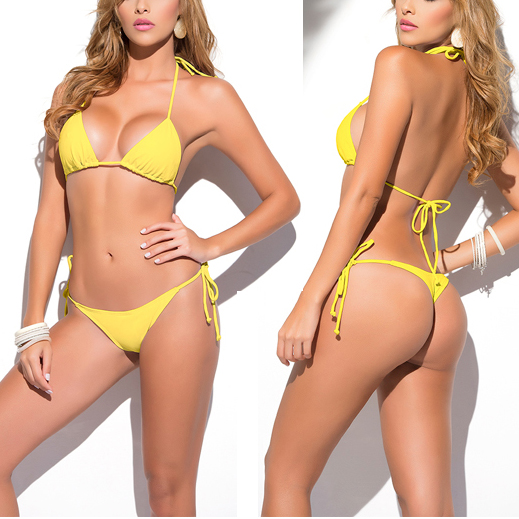 Solid Yellow Classic Thong Bikini Women's Swimsuit Summer Beach String Bikinis Sexy Female Bathing Suit Multi Color Swimwear1667