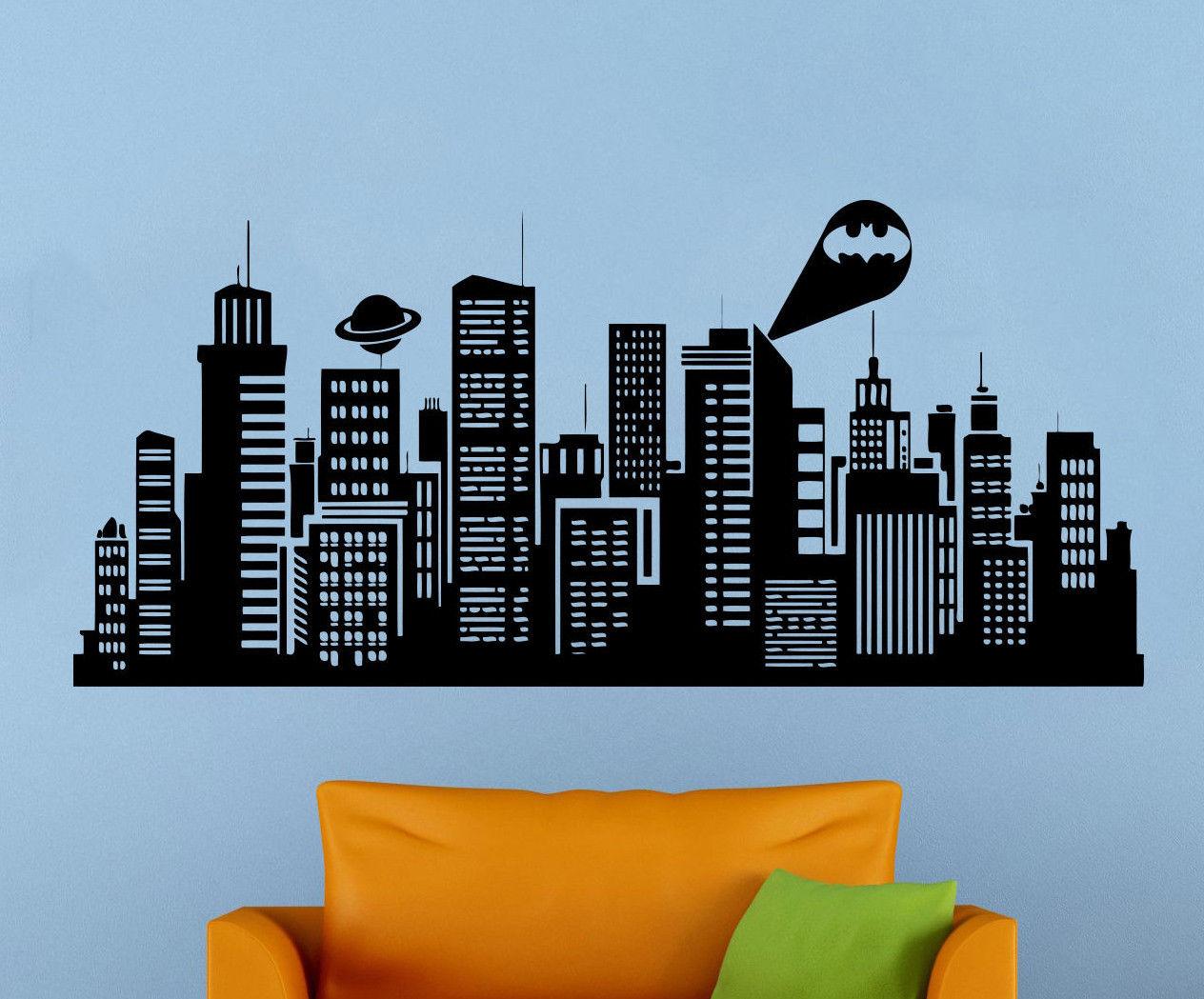Batman Gotham City Wall Decal Comics Vinyl Sticker Kids Room Home Art Decor E605