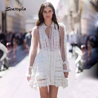 Seamyla New Arrival White Lace Dress 2017 Women S Long Sleeve Ruffles Runway Dress Elegant Mini