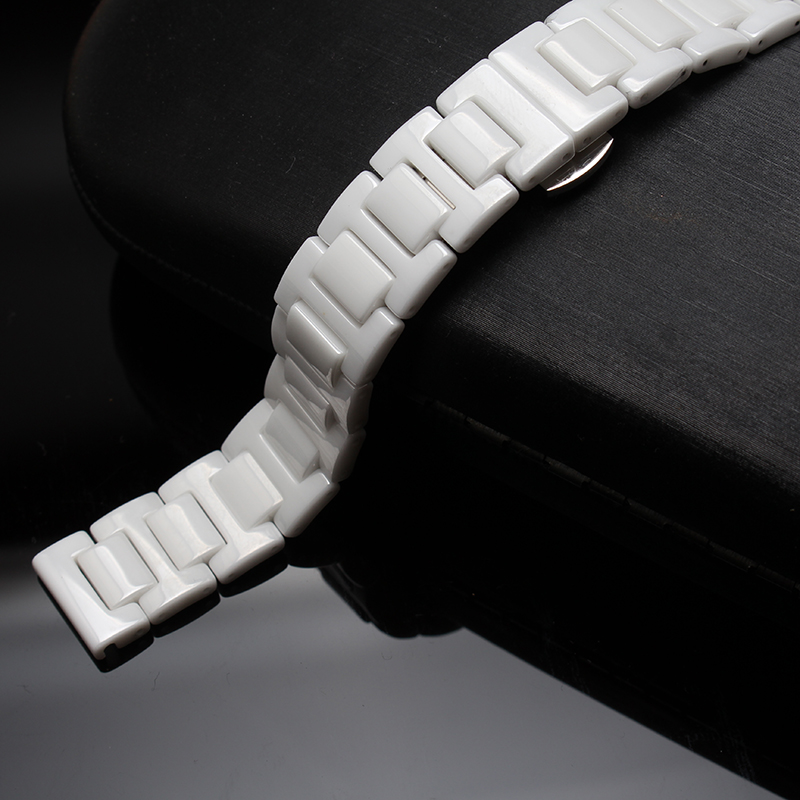 Watch accessories black white ceramic ceramic bracelet for diamond watch men and women 14mm 16mm 18mm