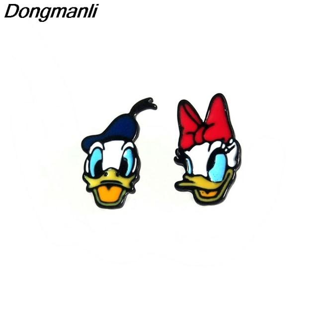 P319 dongmanli New 1 pairs Donald Duck Donald and daisy Earings Cartoon Women Gi