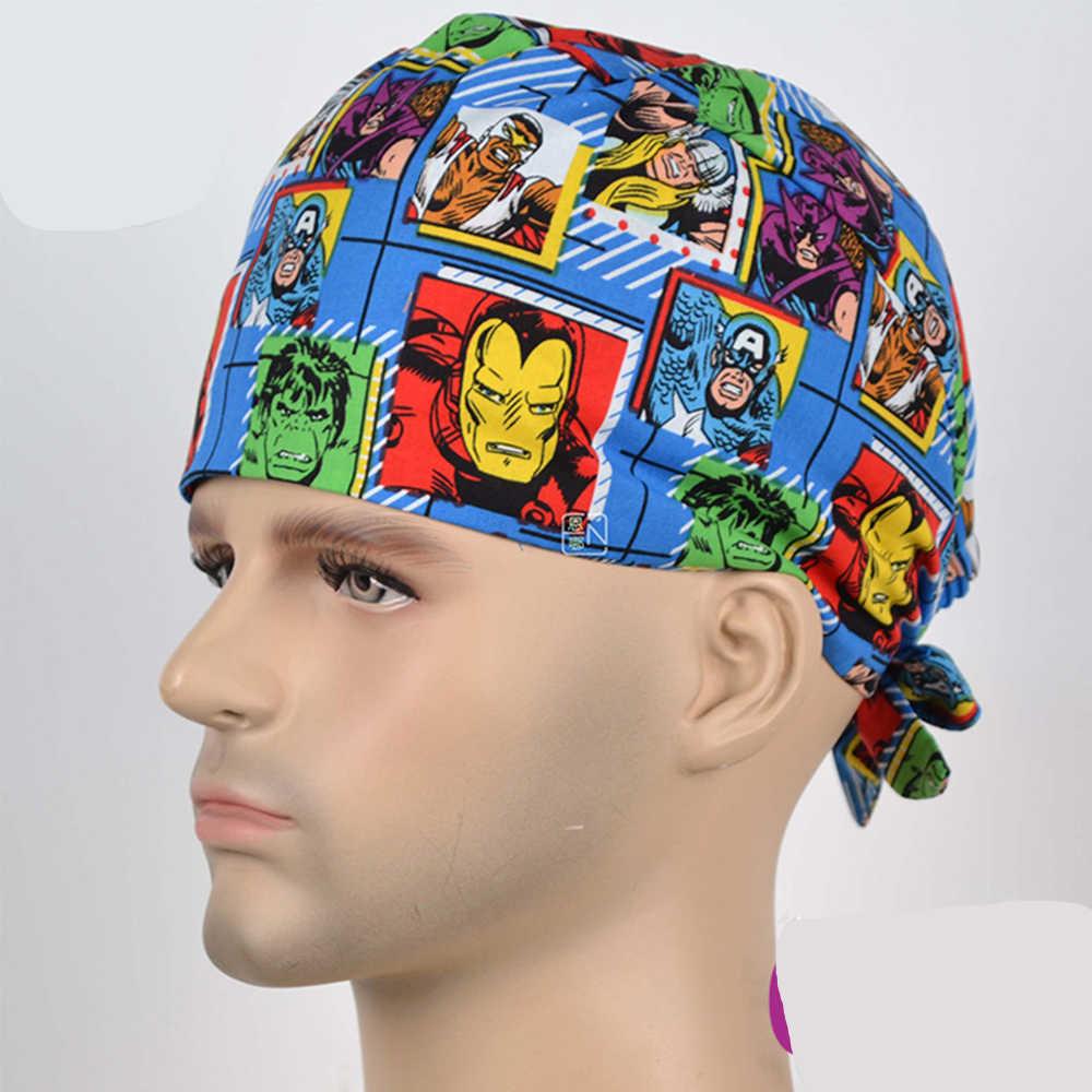 Bohater lekarz oddychająca wysokiej jakości film Marvel fajne szpital dentysta medyczne czapki peelingi kosmetyczne kapelusz chirurgiczny pielęgniarka unisex