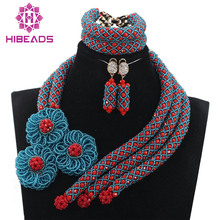 Chunky Seed Beads Flowers Exclusive Red and Teal Wedding Beads African Jewelry Sets Crystal Bridal Necklace Free Shipping ABH254