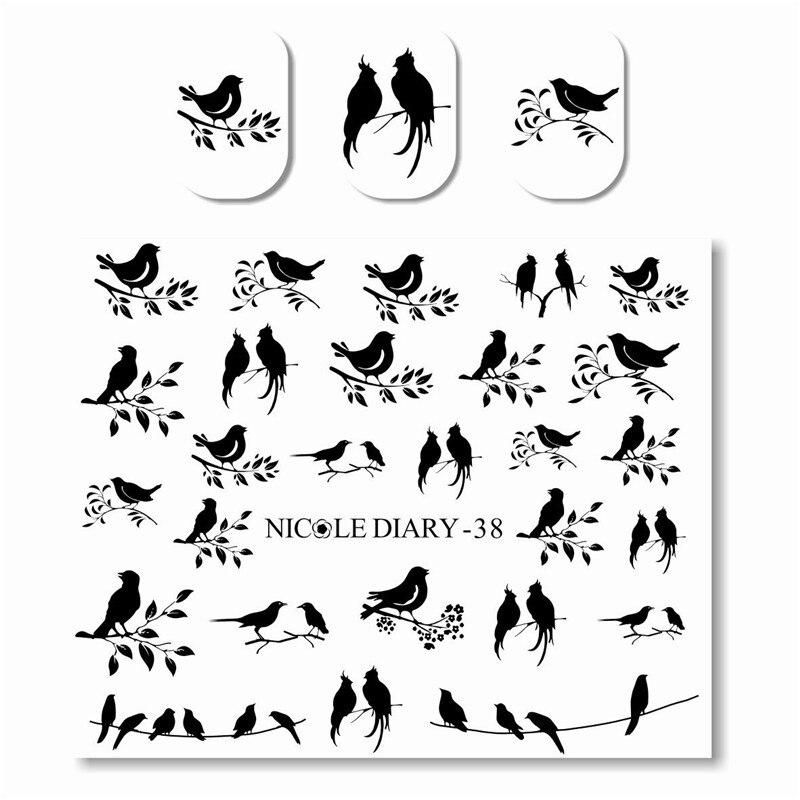 NICOLE DIARY Cute Water Decals Black Bird leaves Pattern Manicure Nail Art Water Transfer Sticker DIY xf187194 3d cute pattern decorative diy nail art sticker white black 2 pcs