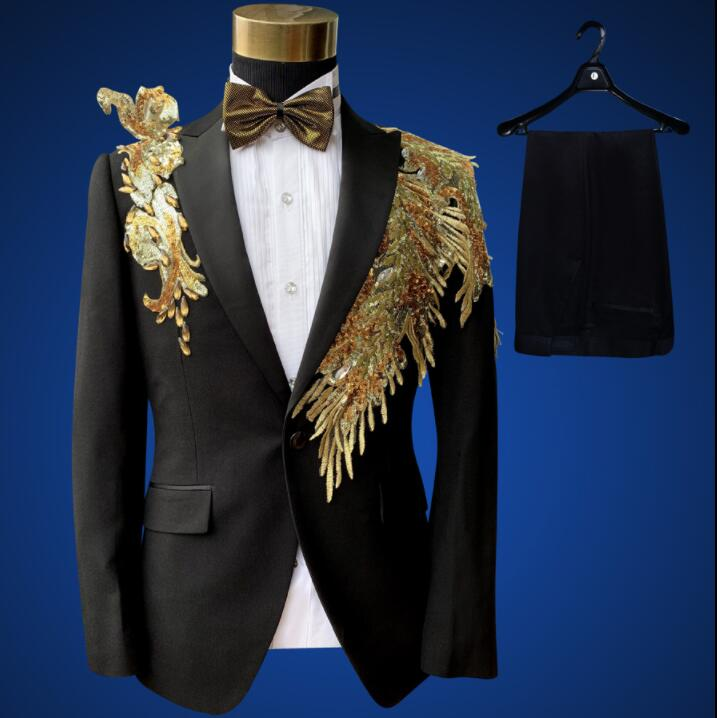 Blazer men suit set with pants mens wedding suits Sequined personality costume singer stage clothing slim formal dress black(China)