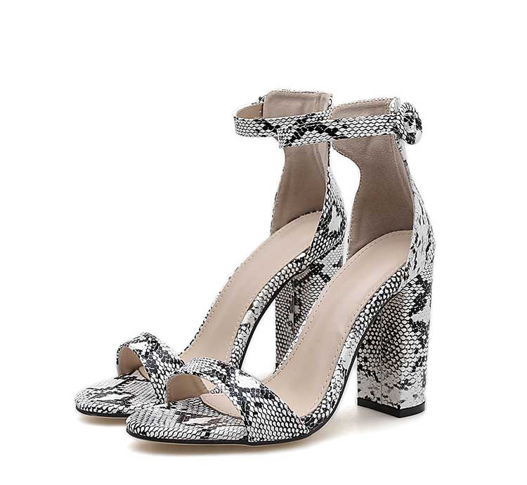 HTB1fwyfXPnuK1RkSmFPq6AuzFXa4 Eilyken Women Ankle Strap Sandals Snake Print Square heel Fashion Pointed toe Ladies Fashion shoes 2019 New Women Sandals