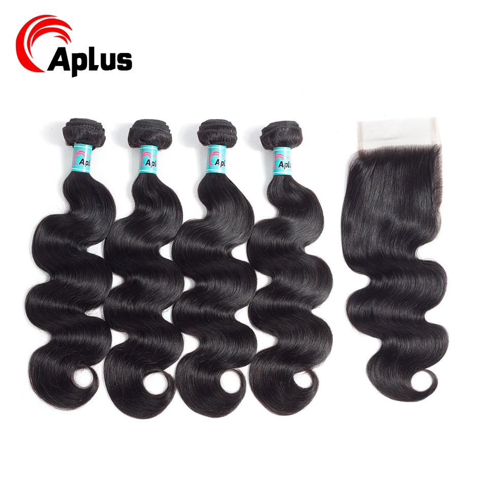 Aplus Peruvian Body Wave Hair Bundles With Closure 4*4 Lace Closure With 4 Bundles 5Pcs/Lot Non Remy 100% Human Hair Extensions
