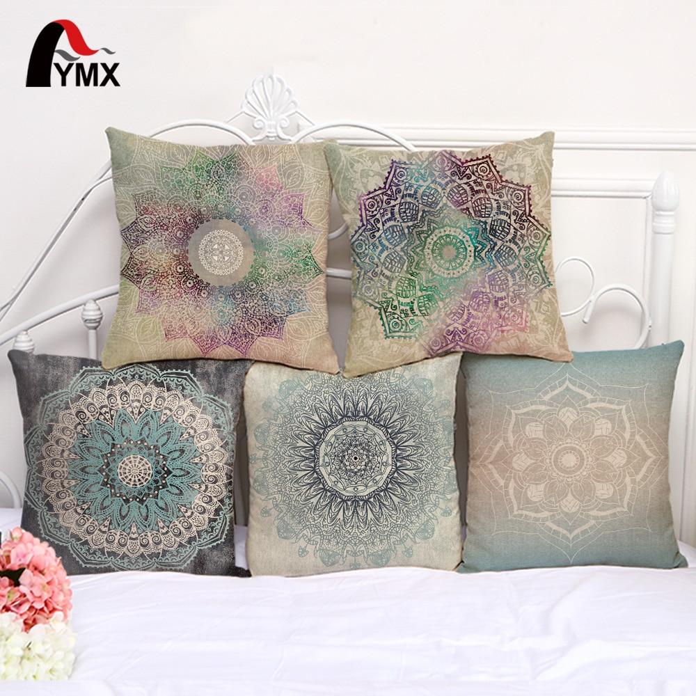 Новият цвят ръчно рисувани свежи цветя мандала памук и бельо кола диван възглавница възглавница покритие възглавници прозорец декорация  t