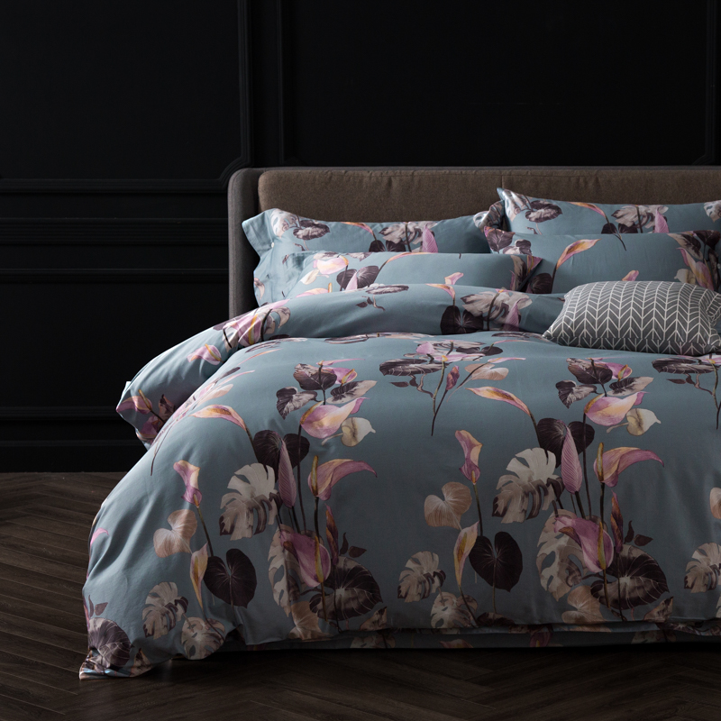 Egyptian cotton fabric Pastoral style Pink leaves print bedding set Queen King Size duvet cover flatsheet pillowcaseEgyptian cotton fabric Pastoral style Pink leaves print bedding set Queen King Size duvet cover flatsheet pillowcase