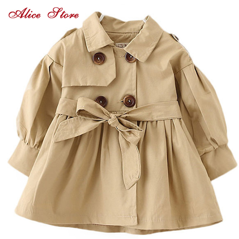 Alice Autumn Winter Children's Clothing Baby Girl Windbreaker Fashion Solid Color Top For 1-6Yrs Old Kids K1