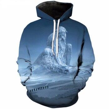 цены Liumaohua  New style Fashion hoodies snow mountain Giant 3d Print Mens Womens Sweatshirt Crewneck Pullover Hoodie S-5XL