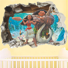 ФОТО Moana Maui Vaiana Break 3D Wall Stickers  Nursery Kids Rooms Decorations Pvc Home Decals Cartoon Mural Decor Wall Art Posters