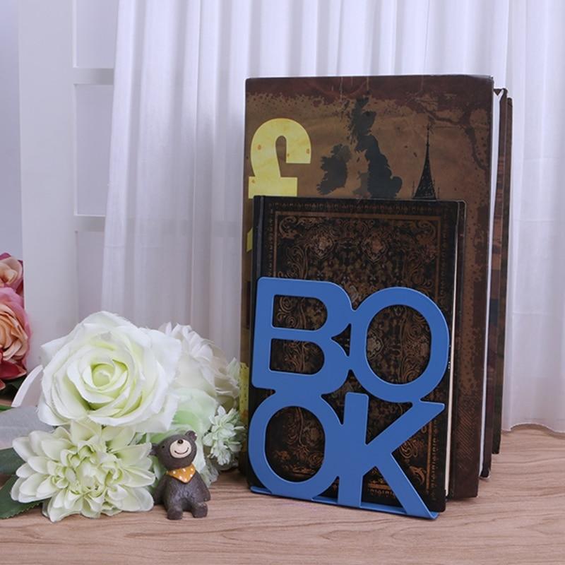 2pcs/pair BOOK Alphabet Shaped Metal Bookends Metal Mesh Desk Organizer Desktop Office Home Book Holder Bookends цена
