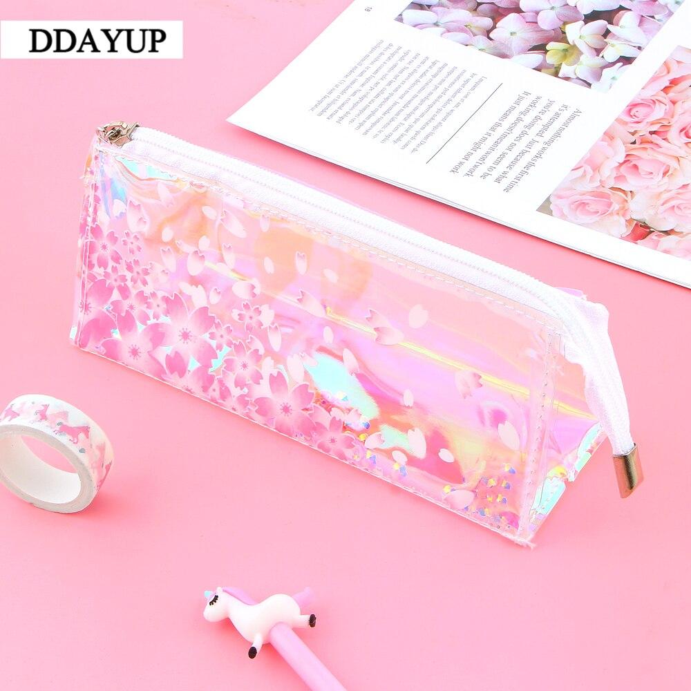 Transparent Pink Sakura Shiny Laser Pencil Case School Supplies Bag Cute Stationery Office