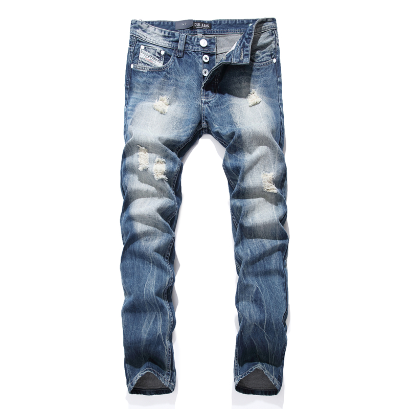 Night Club White Button Jeans Men Denim Blue Ripped Jeans ...