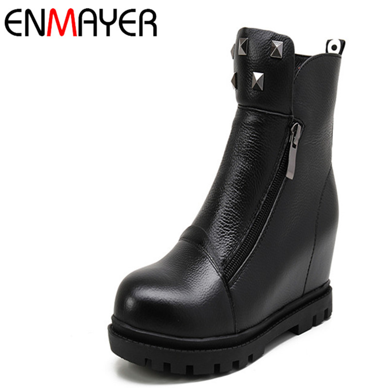 ENMAYER New Arrival Round Toe Shoes Woman Platform Ankle Boots for Women Short Plush Buckle Zipper Winter Boots Rivets Shoes цены онлайн