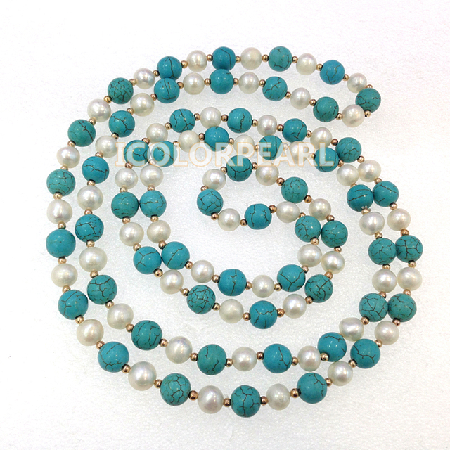 160CM Long 8-10mm Turquoise And White Real Freshwater Pearl With14K Gold Plated Bead Sweater Necklace. Best Jewelry For Girls!