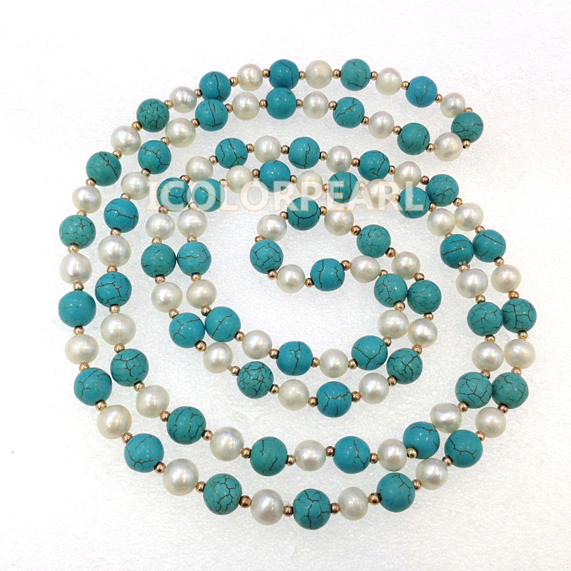 WEICOLOR 160 CM Long 8-10mm bleu pierre blanc véritable collier de chandail de perles d'eau douce. Meilleurs bijoux pour les filles!