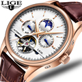 LIGE Fashion Watch Luxury Brand leather Tourbillon Watch Automatic Men Wristwatch Men Mechanical Steel Watches relogio masculino|Mechanical Watches| |  -