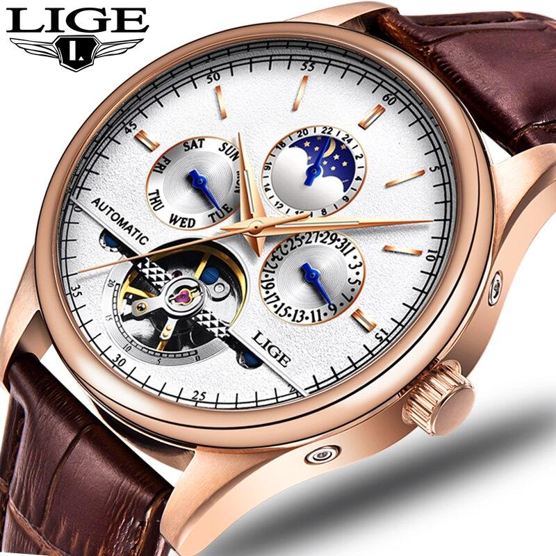 LIGE Tourbillon couro Moda Relógio Marca De Luxo Homens Automáticos Do Relógio de Aço Relógios Dos Homens Relógio de Pulso Mecânico relogio masculino