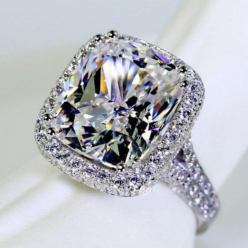 Bijoux de mode anneau de mode coussin cut 10ct Gemme 5A Zircon pierre 14KT Or Blanc rempli Femmes Engagement Band Anneau De Mariage