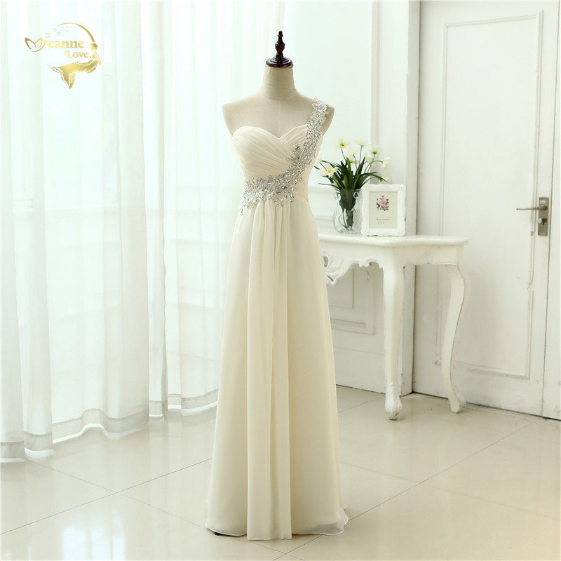 Evening-Dresses Applique Chiffon Formal Soiree Long One-Shoulder Fashion New-Arrival