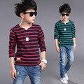 Высокое качество детской одежды мальчиков девочек майка бренда дети мальчик полосатый одежды весна осень хлопка с длинным рукавом футболки топы