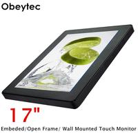Obeytec 17 inch Open Frame Touchscreen Monitor, Industrial Outdoor IP65 LCD Capacitive, PCAP touch screen, 10 Points, 1280*1024