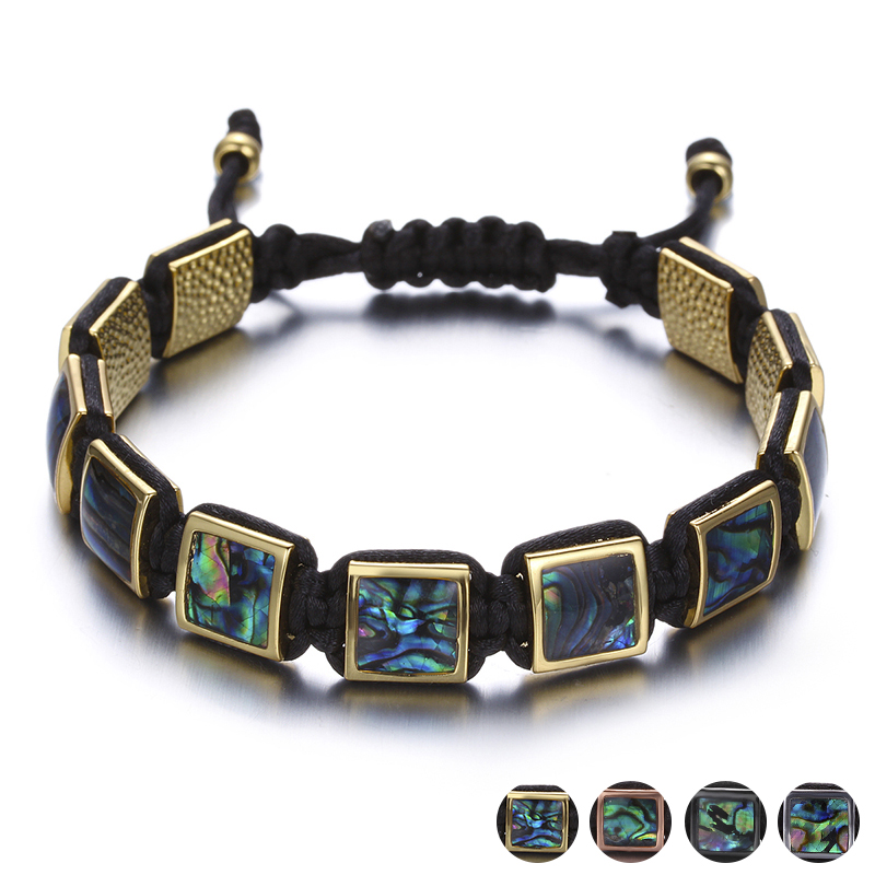 купить Colorful Square Gem Stone Braiding Men Bracelets Fashion Jewelry Black Rope Chain Adjustable Male Bracelet Erkek Bileklik по цене 877.17 рублей
