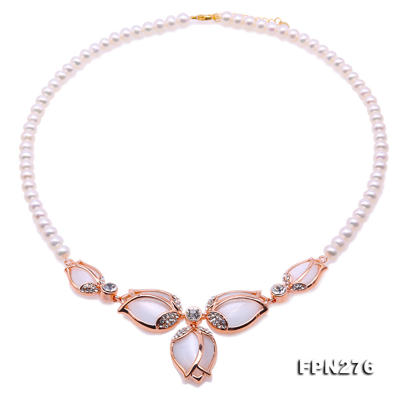 JYX New Tulip Choker necklace 7-7.5mm white pure natural freshwater pearl chains AAA women necklace pure color velvet six pieces thin choker necklace
